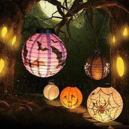Wholesale Ballons Paper - Halloween Lights Halloween Pumpkin Spider Ghost Bats Paper Lantern Lamp Halloween Outdoor Decoration Light Battery LED Ballons Lamps