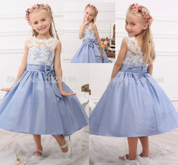 Wholesale Little Princess Dresses Free Shipping - 2018 Free Shipping New Real Princess White Top Blue Flower Girl Dresses Tea Length Tulle Infant Little Girl Birthday Party Dresses HY1268