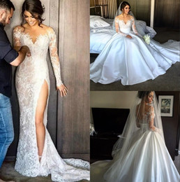 Wholesale Detachable Skirt Gown - 2017 Split Lace Steven Khalil Mermaid Wedding Dresses With Detachable Skirt Sheer Neck Long Sleeves High Slit Overskirt Sexy Bridal Gowns