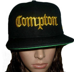 Wholesale Bills Snapback - 2015 COMPTON 3D EMBROIDERED FLAT BILL BLACK SNAPBACK BASEBALL HATs CAPs,Adjustable fashion Discount Cheap and High quality street hat CAP