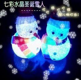 Wholesale Led Scarf - LED flash Snowman + cap scarf Christmas Decorations pendants Christmas Tree Ornament bar party celebration props cartoon kids toy dolls gift