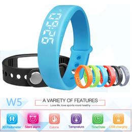 Wholesale Thermometer Bracelet - W5 Smart Watch Wristband Bracelet Bluetooth Sport Watch Pedometer Calory Sleeping monitor 3D Pedometer Thermometer Silent Vibration clock