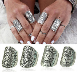 Wholesale Antique Vintage Wedding Bands - Bohemian Vintage Siver Carved Metal Antique Rings For Women Punk Ethnic Boho Jewelry For 4 Style Wholesale12 Pcs