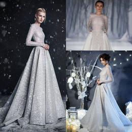 db4da178c1 Paolo Sebastian 2018 Silver Lace Wedding Dresses with Pocket High Neck Long  Sleeve Muslim Dubai Arabic Princess Bridal Wedding Gown