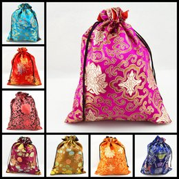Wholesale Reusable Packaging Bags - Luxury Women Decorative Shoe Cover Drawstring Bags with lined Silk Printed Reusable Packaging Pouch 50pcs lot Mix Color Free shipping