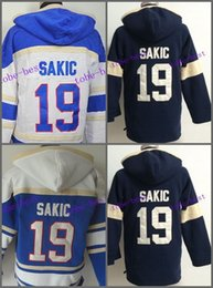 Wholesale Quebec Nordiques Hoodie - Quebec Nordiques Joe Sakic Hooded 19 HOme Blue White Old Time Joe Sakic Pullover Sweatshirt Hoodies Jersey Hoody Stitched Logos