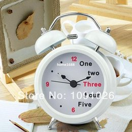 Wholesale Alarm Number - New Arrival Classic Number English Retro Double Bell Desk Table Alarm Clock White Free Shipping&Wholesales