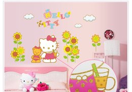 Wholesale Name Wall Art - HELLO KITTY And Cubs Personalised Name Cartoon Wall Sticker Art Decal Vinyl Mural Painting Girl Room Decor kids Size 90*60cm
