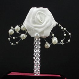 Wholesale cheap brooch wedding bouquets - Hot Sale Wedding Bridegroom Groom Boutonniere Corsage Man Suit Accessories Corsage White Rose Flower With Pearls Party Prom Brooch Pin Cheap