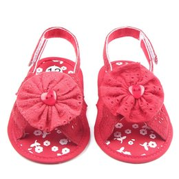 Wholesale First Quality Furs - Wholesale- High Quality Summer Cute Sweet Infant Baby Shoes Girls Cotton Button Flower Soft Sole First Walker 5 Color