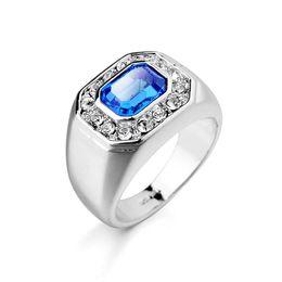 Wholesale White Gold Ring Sapphire - 18k White Gold Men Ring Zirconia Diamond Combination Austiran Rhinestone Men Big Size Ring