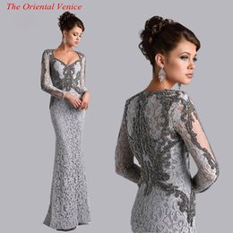 Wholesale Beaded Evening Party Dress - Silver Grey Long Sleeves Mermaid Mother of the Bride Lace Dresses Beaded Saudi Arbia Long Evening Party Gowns Plus Size Mother Formal Dress