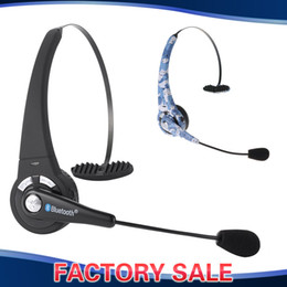 душевые наушники Скидка Wholesale-Trucker Over Head Boom Mic Headphone Wireless Bluetooth Headset Earphone for Cell Phone Mobile Smartphone iPhone Samsung