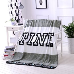 Wholesale Grey Blanket Throw - PINK Blanket Flannel 130*160cm 3 Color Soft Coral Velvet Beach Towel Blankets Air Conditioning Rugs Comfortable Carpet Throw Blanket