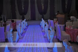 Wholesale Led Wedding Cake Toppers - 60CM *60 cm Shiny Crystal LED Wedding Mirror Carpet Aisle Runner T Station Stage Decoration Props 4pcs  lot free shipping