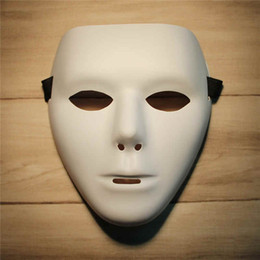 Wholesale Masquerade Halloween Costume - Blank Mask Jabbawockeez Hip Hop White Masque Venetian Carnival Mardi Gras Masks For Halloween Masquerade Balls Cosplay Costume Festive Party