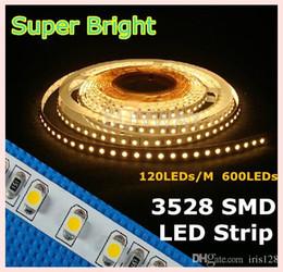 Wholesale Super Bright 12v Led Lights - Super bright 3528 SMD strips 120 LEDs M 12V flexible lights LED strip white warm white blue green red yellow 5M roll