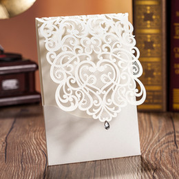 Wholesale Wedding Card White Gold - New 2017 Wedding Invitation Cards Exquisite Personalized Printable White Gold Laser Cut Flora Hollow with Rhinestone Chinese Wedding Favors