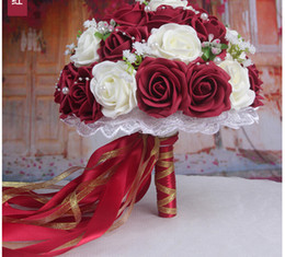 Discount burgundy roses bouquet - 2018 Burgundy Artificial Wedding Bouquets For Women Roses Ribbon Decorations Bridal Flowers Accessories Gown In Stock Free Shipping