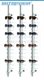 Wholesale Sunglass Holder Rack - LOC-12-115-R metal wall-Mount lockable eyeglasses holder sunglass show stand display rack with rock hold 12 pieces