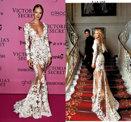 Wholesale Silver Dresses Zuhair Murad - Zuhair Murad 2016 Sheer Lace Evening Dresses Long Sleeves V Neck Appliques Long CANDICE SWANEPOEL Wears Illusion Prom Celebrity Party Gowns