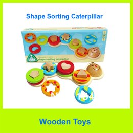 Wholesale Elc Shipping - Wholesale-Free Shipping Quality ELC Caterpillar Shape Sorting Sets Baby Wooden Toy Bricks Building Block Toys Children Educational Toys