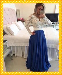Wholesale Gala Prom Dresses - Deep V Neck Lace Evening Dresses 2017 With Long Sleeve Elegant Blue Color A Line Floor Length Chiffon Prom Party Dress For Gala