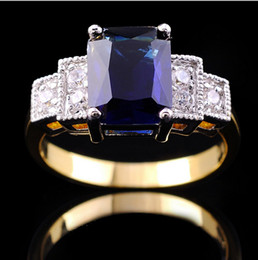 Wholesale 14kt gold sapphire rings - Size8 Luxury jewellery sapphire lady's 14KT white Gold Filled Ring 1pc free shipping