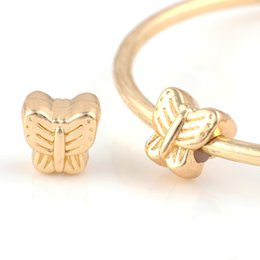 Wholesale Chamilia Heart Charm - 18K Gold Alloy Beads Butterfly DIY Big Hole Metal Beads European Spacer Chamilia Bead Charm Fit For Pandora Bracelet Charms
