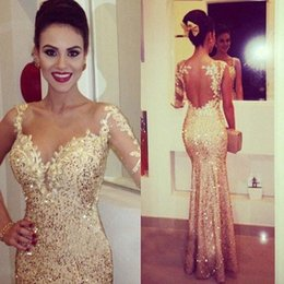 Wholesale T Backs Pictures - Gold Sequined Prom Dresses 2017 Long Sleeves Sweetheart Mermaid Formal Party Evening Gowns with Lace Appliques Floor Length Sexy Back Hollow