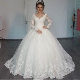 Wholesale Simple Elegant Cheap Ball Gowns - 2017 Ball Gown Long Sleeves Wedding Dresses Ivory Vintage V-neck Tulle Puffy Vestido Elegant Bridal Gowns Cheap