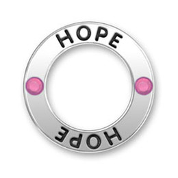 Wholesale pink gold statement necklace - New Arrival 50pcs Vintage Znic Alloy Rhodium Pink Crystal HOPE Message hoop Pendant Charms for Statement Necklace & Pendants