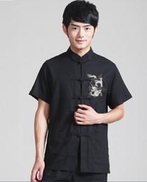Wholesale Colours Dress Shirts - Wholesale-Chinese Men's traditional Linen cotton Dragon Kungfu clothing dress shirt short sleeves 4 colours Sz: M L XL 2XL 3XL