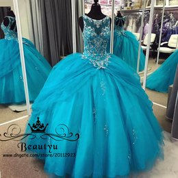 Wholesale Turquoise Ruffled Quinceanera Dress - Luxury Beading Crystals Turquoise Tulle Quinceanera Dresses 2018 Plus Size Illusion Sheer Backless Overskirt Sweet 16 Ball Gowns Prom Dress