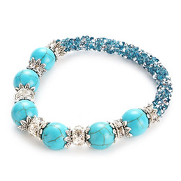 Wholesale Indian Braid Jewelry - Find Me 2017 natural turquoise bracelets for girl statement jewelry Fashion Wholesale shell Double braiding beads Bracelet bangles for women