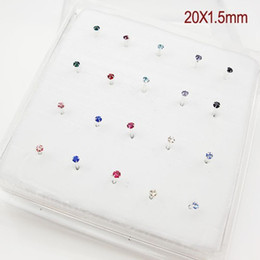 Wholesale Wholesale Sterling Silver Nose - 40X1.5MM 925 Sterling Silver Nose Stud With Crystal Wholesale Lot- 4Claws