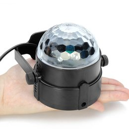 Wholesale Club Sounds - Auto Sound Activated 3W Crystal Magic Rotating Ball Effect RGB LED Stage Lights for KTV Xmas Party Wedding Show Club Disco DJ