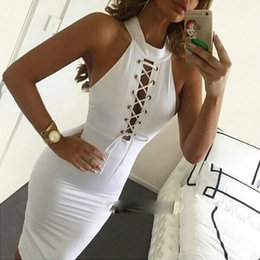 Wholesale Ribbed Dress - 2016 Sexy Summer Dress Women Vestidos Sleeveless Bodycon Ribbed Front Cross Bandage Cocktail Club Wear Midi Party Dresses