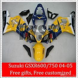 Wholesale Suzuki Blue Decals - Free Gift Fit SUZUKI Fairing Kit GSXR600 GSXR750 K4 2004 2005 04 05 GSXR 600 750 GSX-R600 750 Corona Yellow Blue Black Decals ABS Cowl