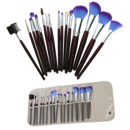 Wholesale Pro Sets de pinceles de maquillaje Kit de pinceles cosméticos Funda de bolsa Pouch Kit de pinceles de maquillaje púrpura Herramientas de maquillaje profesional set