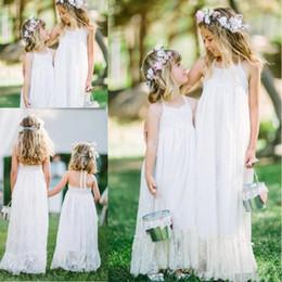 Wholesale Cheap Dresses For Junior Girls - 2017 Lovely White Lace Flower Girls Dresses Halter Sleeveless Sweep Train Girls Dresses For Wedding A-Line Cheap Junior Bridesmaid Dresses