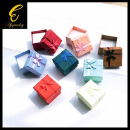 Wholesale Fg Mixes - FG Wholesale 24PC lot Size 4*4*3CM 7 Kinds Of Mixed Colors, Jewelry Display Paper Gift Box Earrings Ring Box