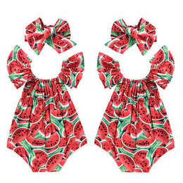 b23382d2a79 baby girl watermelon romper Canada - Infant Newborn Baby Girls Watermelon  Print Lace Sleeveless Romper Headband