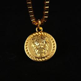 Wholesale Mens Lion Pendant - HOT 18K Gold Silver Plated Lion Medallion Head pendant Hiphop franco long necklaces for mens bijouterie High Quality