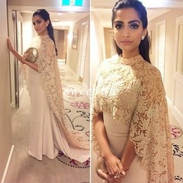 Wholesale Long Cloak Formal Dress - 2015 Celebrity Dresses with Lace Cloak Vintage Mermaid Sheer High Neck Sleeveless Arabic Indian Women Formal Evening Dress Red Carpet Gowns