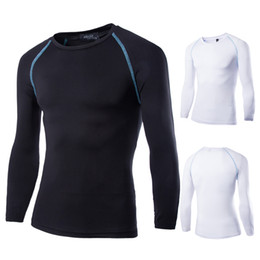 Wholesale Wholesale Mens Base Layer Shirts - Wholesale-Mens Boys Casual T-shirt Compression Base Layer Long Sleeve Quick Drying Thermal Under Top Tee Shirt New Sports T shirts WS417