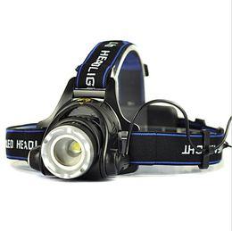 Wholesale Led Black Light Headlamp - Cree XM-L T6 Waterproof LED Headlamp 2000 Lumen Aluminium Black Headlight 4.2V 10W Light Head JY020056