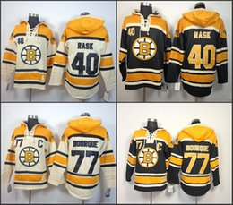 Wholesale Old Cheap - Cheap Mens Boston Bruins Hoodies 40 Tuukka Rask 77 Ray Bourque Sweatshirts Stitched Authentic Old Time Hockey Hoodies size S-3XL