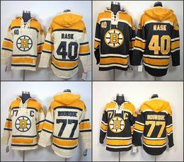 Wholesale Cheap Xxl Hoodies - Cheap Mens Boston Bruins Hoodies 40 Tuukka Rask 77 Ray Bourque Sweatshirts Stitched Authentic Old Time Hockey Hoodies size S-3XL