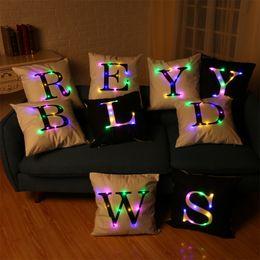 Wholesale Lit Sofa - 26 Letters Creation Led Light Luminous Pillow Case Letters Pillow Case Sofa Car Decor Cushion 45*45cm